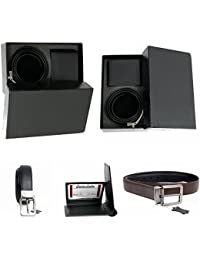 Men Genuine Leather Reversible Black Brown 1.25'' Belt Black Wallet Gift Set