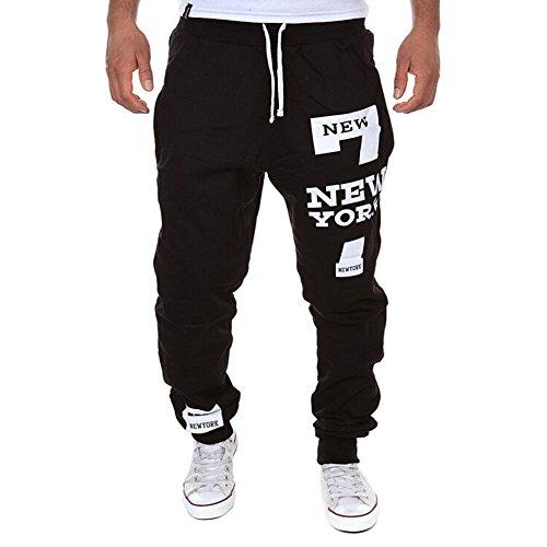 De feuilles Herren Casual Hose Lang Winter Fitness Loose Crotch Hose Hiphop Dance Jogger Sweatpants Baggy (XL, schwarz)