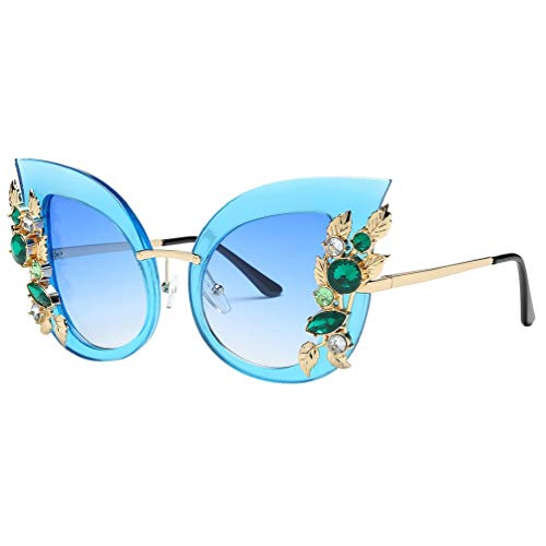 Sonnenbrillen Groß Strass Glitzernd Blumen Sunglasses Brillen, Bluelucon Unisex Klassische Brille...