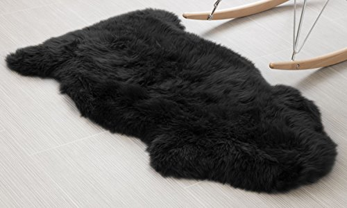 Teppich Fell Schwarz (Faux Lammfell Schaffell Teppich 60X90 CM, HEQUN Kunstfell Dekofell Lammfellimitat Teppich Longhair Fell Nachahmung Wolle Bettvorleger Sofa Matte (Schwarz, 60 X 90 CM))