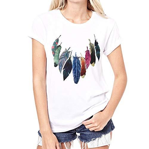 Camiseta para Mujer Moda Impresa Camiseta Blusa Pluma de Color atrapasueños Impreso Manga Corta Tops Camiseta Blanca Diario Casual T-Shirt Blusa Casual Cuello Redondo Cómodo Verano