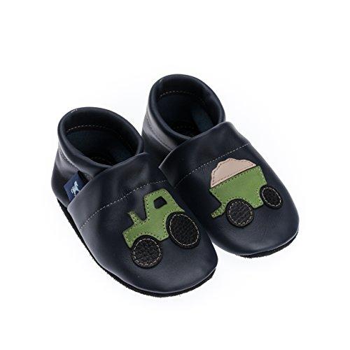 pantau.eu Kinder Lederpuschen Krabbelschuhe Lauflernschuhe mit Traktor und Anhänger BLAU_APFELGRUEN_BEIGE