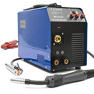 MIG-250 Inverter Schweißgerät MIG MAG - Schutzgas Schweissgerät mit 250 Ampere, Fülldraht und Elektroden geeignet mit/MMA E-Hand/IGBT Technologie / 230V / Blau