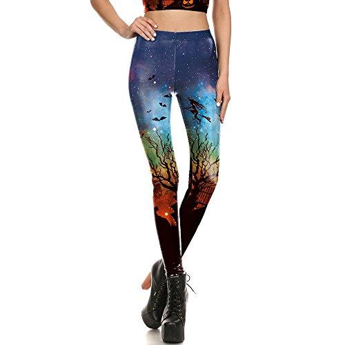 Xiuzp nuove donne di disegno leggings 3d stampato halloween warlock broomstick ray fluorescenza leggins yoga pant collant legging per donna yuga leggings (color : blue, size : s)