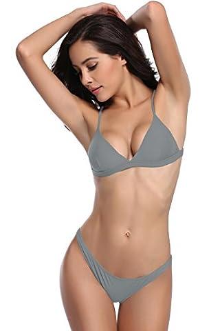 SHEKINI Damen Triangel Push-up Polster Bikini Set Gepolsterte Bademode Rückenfrei Badebekleidung Badeanzug (Medium, Grau)