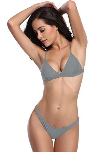 SHEKINI Damen Triangel Push-up Polster Bikini Set Gepolsterte Bademode Rückenfrei Badebekleidung Badeanzug (X-Large, Grau) -