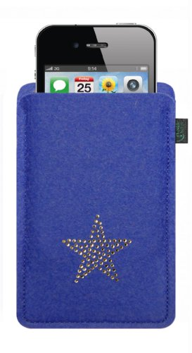 Feltro custodia per iphone 4/s ,3, blu, con stella in cristalli swarovski®;