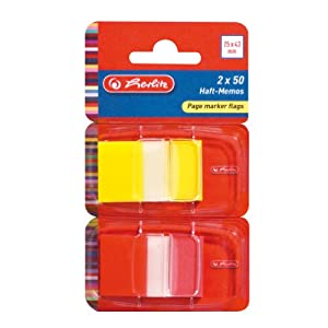 Herlitz 25mm x 43mm Page Marker Flags (Pack of 2, 50 Sheets)