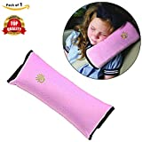 Safe-O-Kid 1 Seat Belt Mounted Pillow/Neck Support Pillow, Seat Strap Cushion for Kids, Toddlers- Pack of 1, Pink