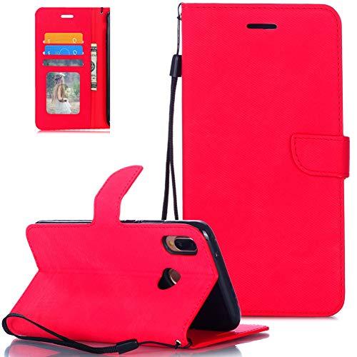 FNBK Handytasche Kompatibel mit Huawei P20 Lite Lederhülle für Handy Flip Leder Tasche Handyhülle Stoff Stoßfest Klapphülle Schale Bumper Magnet Brieftasche Ständer Kartenfächer Shell,Rot