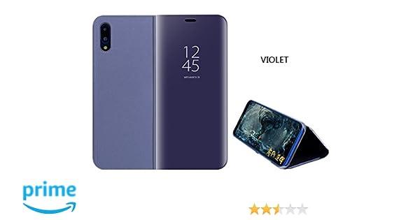 sports shoes cba6b 855aa Huawei P20 Lite Mirror Plating Flip Case Smart View Flip Cover for Huawei  P20 Lite (Purple)
