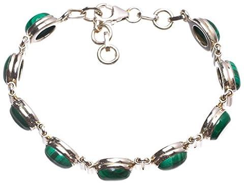 StarGems(tm) Natural Malachite Handmade Mexican 925 Sterling Silver Tennis Bracelet 6 3/4-7 1/2