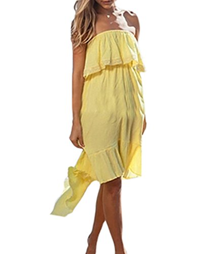 ZANZEA Femme Eté Sexy épaule Nu Dress Dos Nu Dentelle Bustier Tunique Dovetail Plage Robe Sundress Jaune