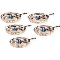 Set di 5 - Prisha India Craft ® di alta qualità in acciaio fatti a mano in rame piatto da dessert e cucchiaio Set , Halwa piastra e cucchiaio Set - diam. 4,5 pollici - CHRISHTMAS DONO