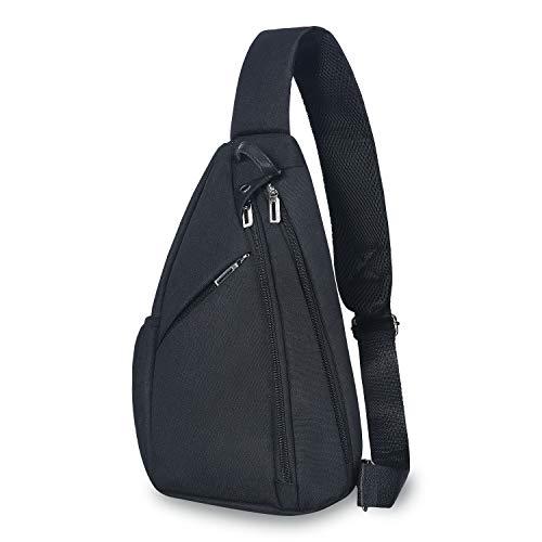 UNIQUEBELLA Brusttasche Herren, Sling Schultertasche Rucksack Umhängetasche für Outdoor Wandern Sport (Schwarz) Bella Sling