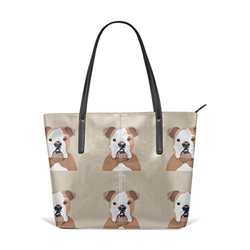 Women's Soft Leather Tote Shoulder Bag English Bulldog Dog With Cut Lines Dog Panel, Dog, Cut And Sew Fashion Handbags Satchel Purse -
