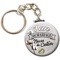 Porte Clés Chaînette 3,8 centimètres 1 An de Mariage Noces de Coton Idée Cadeau Accessoire Accessoire Anniversaire Mariage Couple