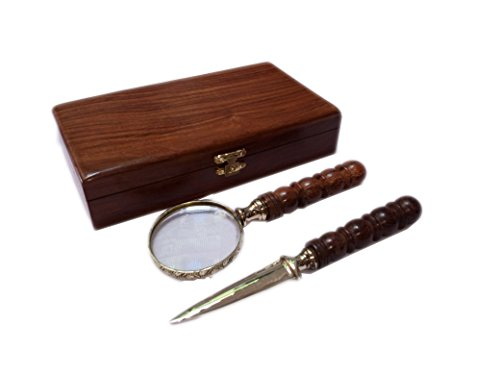 Handlupe mit 75?mm/7,6?cm Premium Messing gerahmt Lupe mit Holzgriff/Papier Messer & Box   B?ro Ware Dekorative Zoomen Objektiv   Lesehilfe
