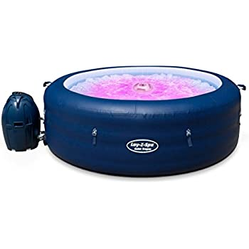 Lay-Z-Spa BW14294 Saint Tropez Hot Tub with Floating LED Light, Airjet Inflatable Spa, 4-6 Person - Blue
