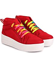 JIANSH High Ankle Platform Long Shoes for Girls Heels Canvas Sneakers Women Latest Fashion Casual Shoes Rainbow Colour Shoe Laces