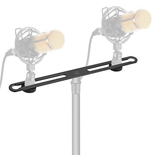 Neewer Einstellbare Mikrofon Bar Zink-Legierung Bau mit 5/8-Zoll-Schrauben für Besitz 2 Mics oder Boom Arms, Shock montieren in vokal Aufnahme Rundfunk und Pressekonferenz
