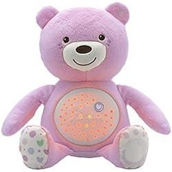 Chicco - Proyector Baby Bear, Peluche extrasuave con Efectos de luz y Melodías, Color Rosa (8015100000)