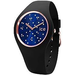 Ice-Watch - Ice Cosmos Star Deep Blue - Montre Noire pour Femme avec Bracelet en Silicone - 016298 (Small)