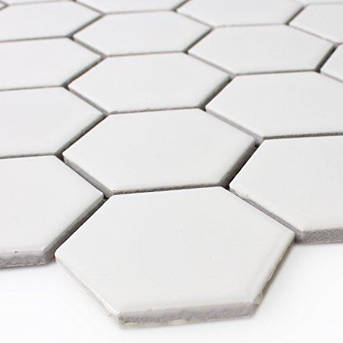 Mosaikfliesen Hexagon Keramik Mosaik Weiss Matt