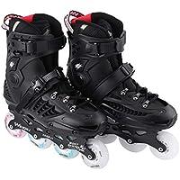 1 par de Patines 8 Ruedas Full Flash LED Patines de Rueda Fancy Straight Adult Roller Skates Zapatillas de Patines Profesionales para Hombres y Mujeres - Negro 36