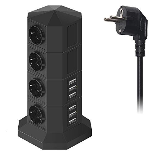 Ab 8 Steckdosen Überspannungsschutz (JZBRAIN USB Steckdosenleiste Überspannungsschutz mit 6 USB-Ports 8 Fach Einzeln Schaltbar Mehrfachsteckdose smartes und schnelles Aufladen, Steckdosenturm mit 2 m Verlängerungskabel (schwarz))