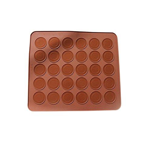 Ecarton Macarons Backmatte aus Silikon für perfekte Makronen 30 Mulden antihaftbeschichtet 26x29cm Braun