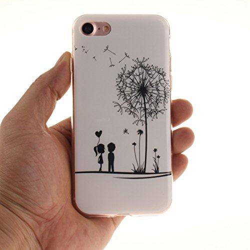 "iPhone 7 Hülle, Apple iPhone 7 Handyhülle 4.7"" Dünn Stil Licht Original Malerei Muster Schwarzer Löwe Flexibel TPU Gel Case Bumper Stoßfest Weiß-1"