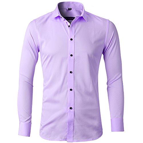 Camicia elastica di bambù fibra per uomo, slim fit, manica lunga casual/formale, viola chiaro, m