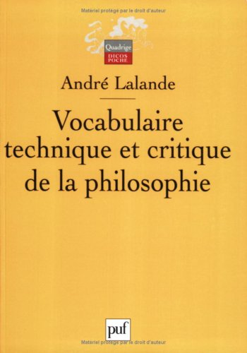 Vocabulaire technique et critique de la philosophie