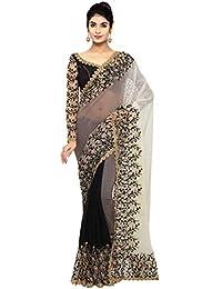 Triveni Sarees Women's Chiffon Saree with Blouse Piece (TSN96072, Black)