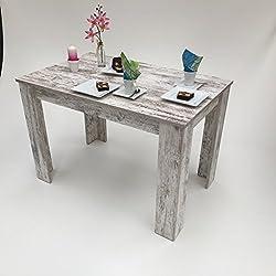 Mesa de comedor, pino, color blanco y beis