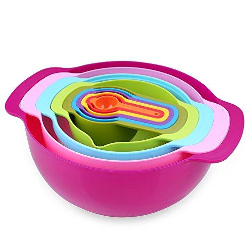 Nuovoware Mixing Bowls Set, Premium 10 PCS Bunte Plastik Versatile Salat Schüssel Mischschalen mit Griffen, inklusive Container, Sieb und Messbecher, Verschiedene Größen, Mehrfarbig (Messbecher, Nest)