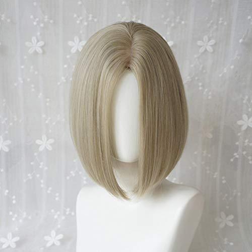 Kurze Bob Perücke Europa und Amerika Bobo Head Silber Weiß Minute Kurzes glattes Haar hübsches Gesicht flauschige natürliche realistische Haarschnitt Perücke weiblich Cosplay Karneval Halloween