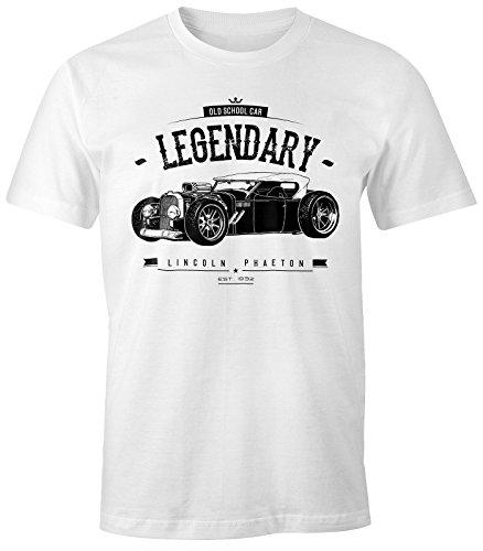 MoonWorks Herren T-Shirt, Hot Rod Retro Auto Car Oldschool Rockabilly, Fun-Shirt Weiß S (Rockabilly-retro-shirt)