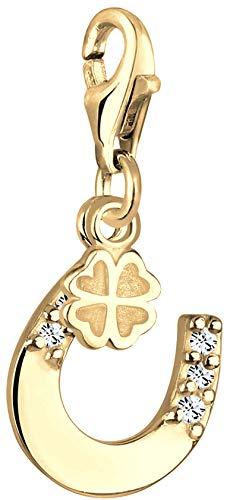 Nenalina Hufeisen Kleeblatt Charm vergoldet aus 925 Sterling Silber für Damen, Swarovski Kristalle, passend für alle gängigen Charmträger Armband und Bettelarmband, Farbe Gold, 0403790419