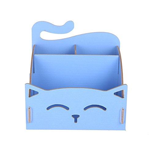 Jiacheng29 Niedliche Katzen aus Holz, hohl, mit Aufbewahrungsbox DIY Büro-Stift Schreibtisch-Organizer, holz, blau, Einheitsgröße (Möbel Andere Wohnzimmer)