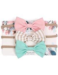 Ruffles & Bows - Baby Girl Headbands and Bows, Newborn Infant Toddler Nylon Hairbands, Nylon Headbands, Hair Accessories for Newborn Toddler Girls