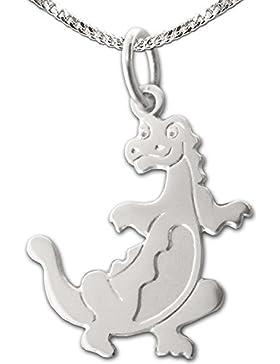 CLEVER SCHMUCK-SET Silberner Anhänger kleiner Dino Drache 16 mm flache Form glänzend teils seidenmatt mit Kette...