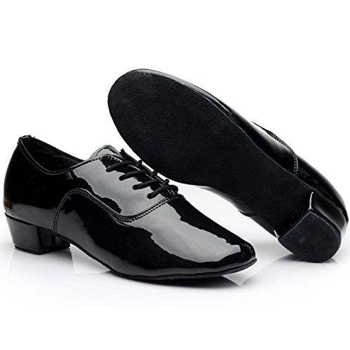 Oasap Men's Round Toe Lace-up Latin Dance Shoes Black