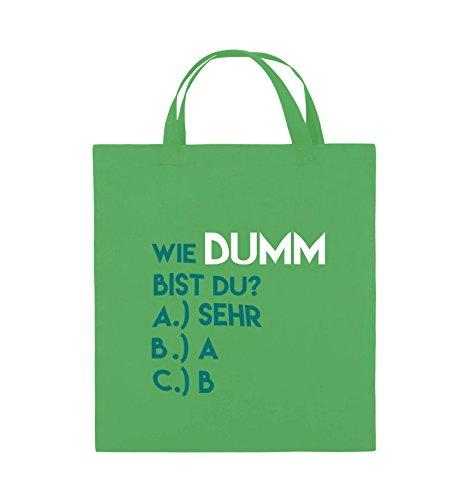 Borse Comiche - Quanto Sei Stupido? - Borsa In Juta - Manico Corto - 38x42 Cm - Colore: Blu / Viola-verde Fucsia / Turchese-bianco