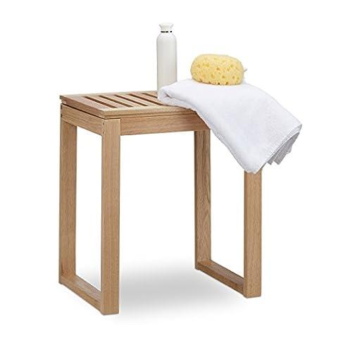 Relaxdays Wooden Bath Rack, Walnut Seat For Children & Seniors, Chair or Shelf, Footstool, Hxwxd: 46x40x30 cm, Natural,