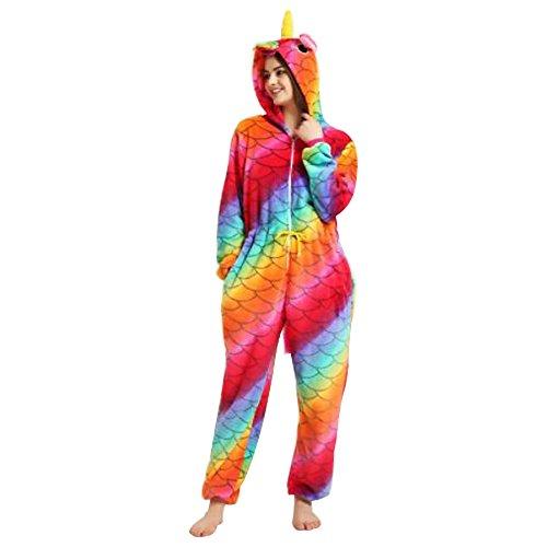 Monkey Kostüm Kind (KiKa Monkey Einhorn Pyjamas New Mermaid Zipper Drawstring Pyjamas Rot Glamorous Flanell Stil Flamboyant Cosplay Kostüme (S, Skalen zippVer DSkalen zippVer Drawstringrawstring))