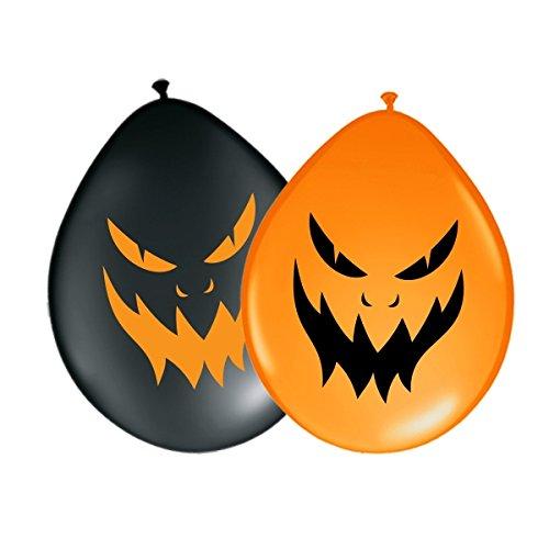 Luftballons Halloween - Böses Gesicht Ø 30 cm - Orange & Schwarz 10 Stück - partydiscount24®