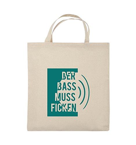Comedy Bags - DER BASS MUSS FICKEN - Jutebeutel - kurze Henkel - 38x42cm - Farbe: Schwarz / Pink Natural / Türkis