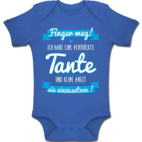 Shirtracer Sprüche Baby - Ich Habe eine verrückte Tante Blau - 1-3 Monate - Royalblau - BZ10 - Baby Body Kurzarm Jungen Mädchen